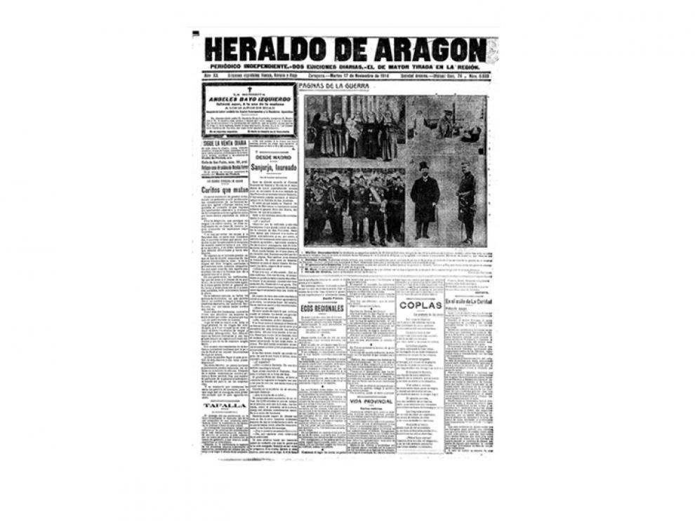Portada de HERALDO el día 17 de noviembre de 1914