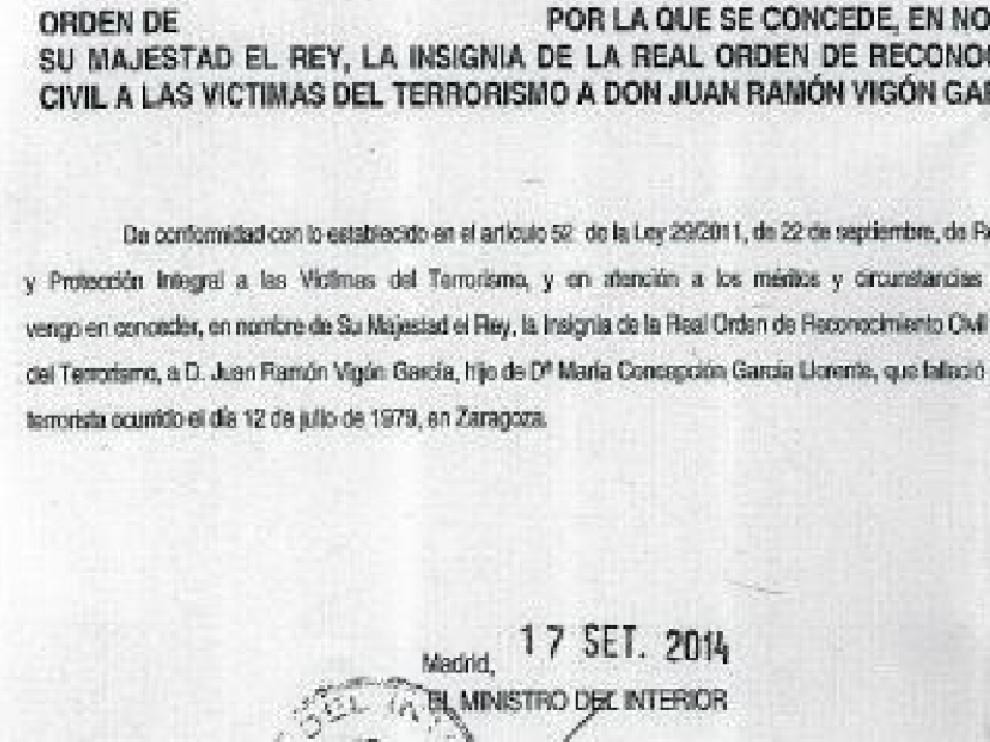 Documento oficial del Ministerio del Interior de septiembre pasado.