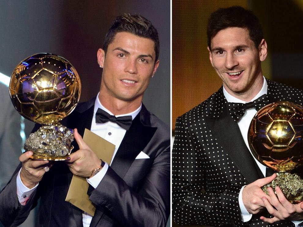 Ronaldo y Messi, con el balón de oro.