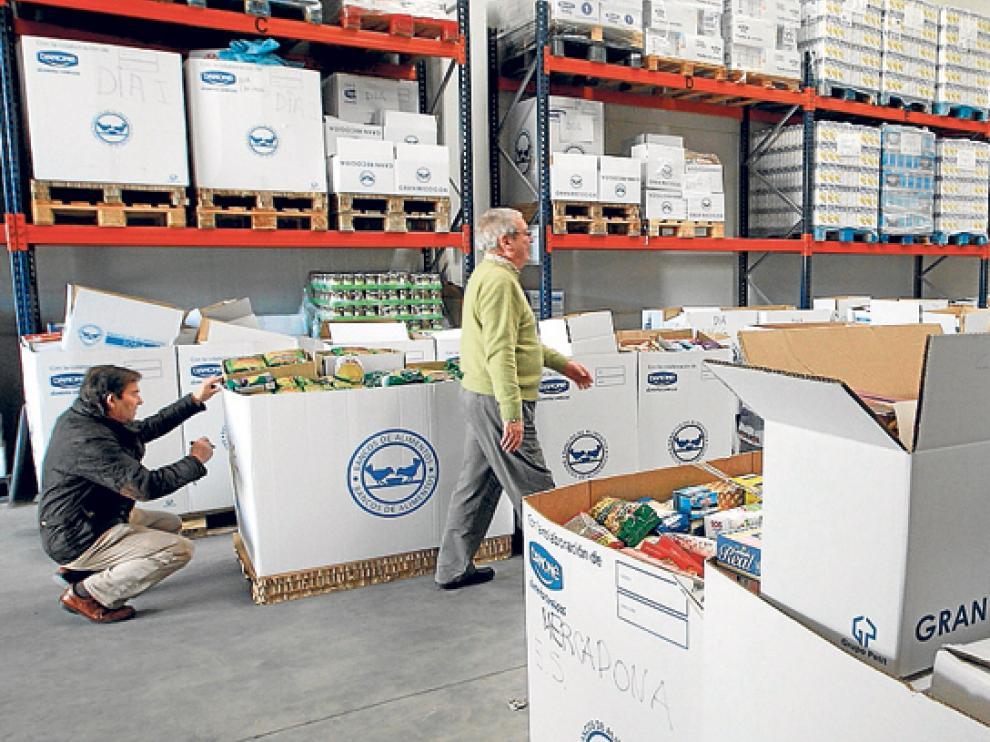 El almacén del Banco de Alimentos de Soria, en una época en la que estaba a rebosar