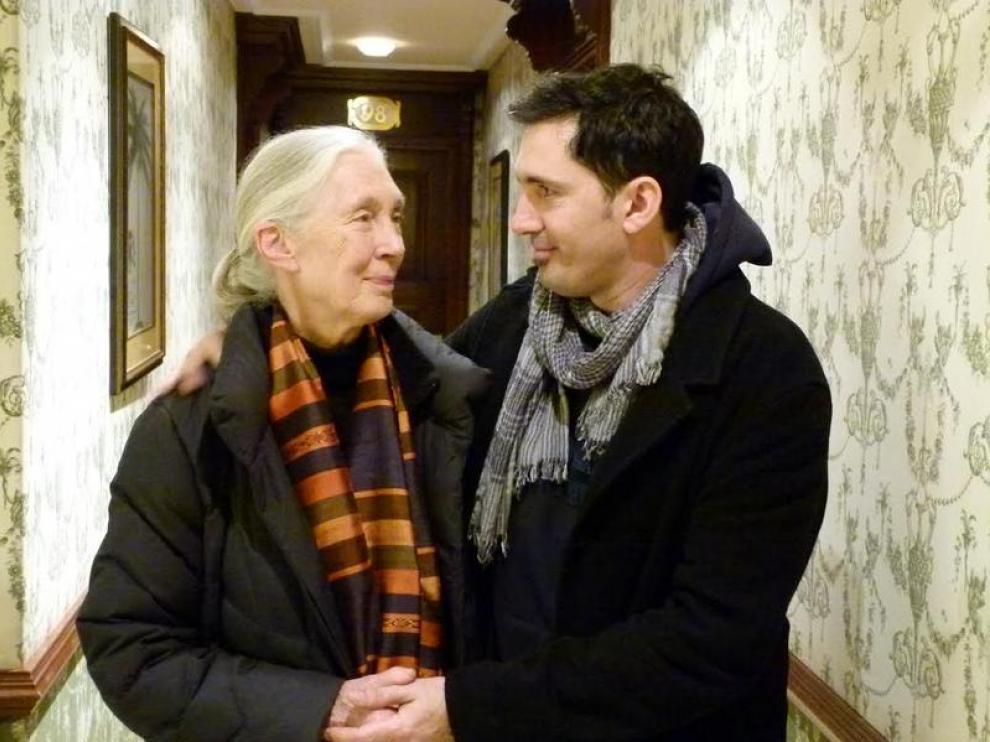 Jane Goodall y César Bona