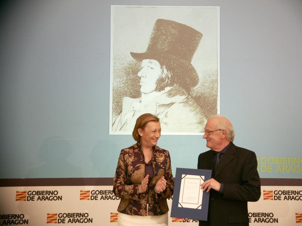 Natalio Bayo en la entrega del Premio Aragón Goya 2014