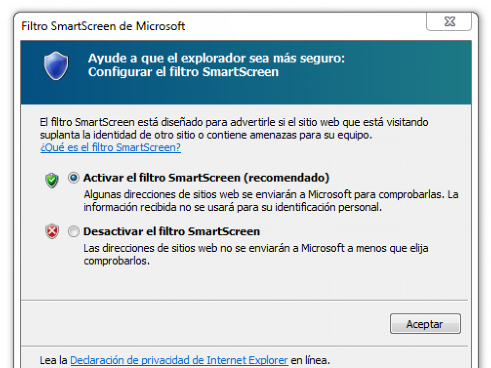 Anti phishing Internet Explorer