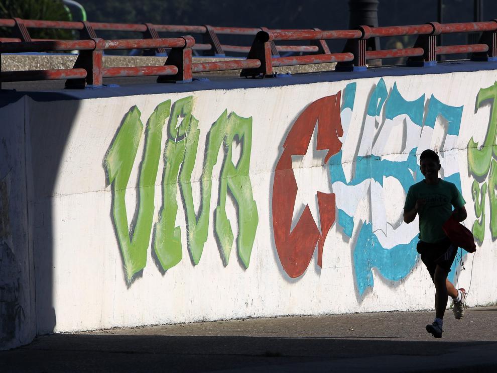 Un mural de contenido revolucionario en La Habana