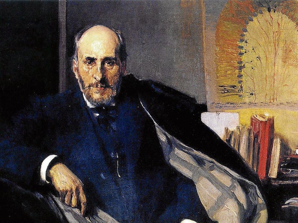 Retrato que Joaquín Sorolla le realizó a Santiago Ramón y Cajal.