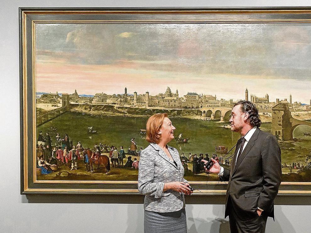 El director del Museo del Prado, Miguel Zugaza, ofreció a la presidenta Rudi una visita guiada por la exposición sobre Goya que ahora celebra la pinacoteca española.