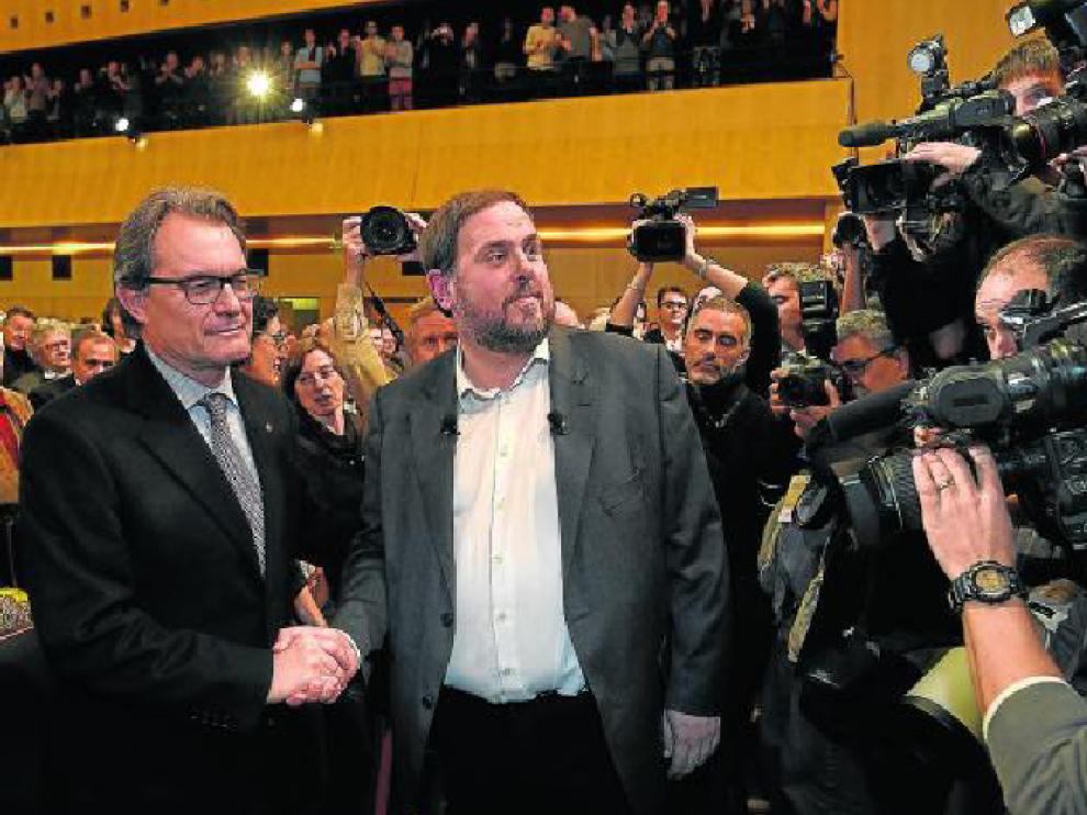 Artur Mas y el líder de ERC, Oriol Junqueras, el pasado día 2 en un acto público.