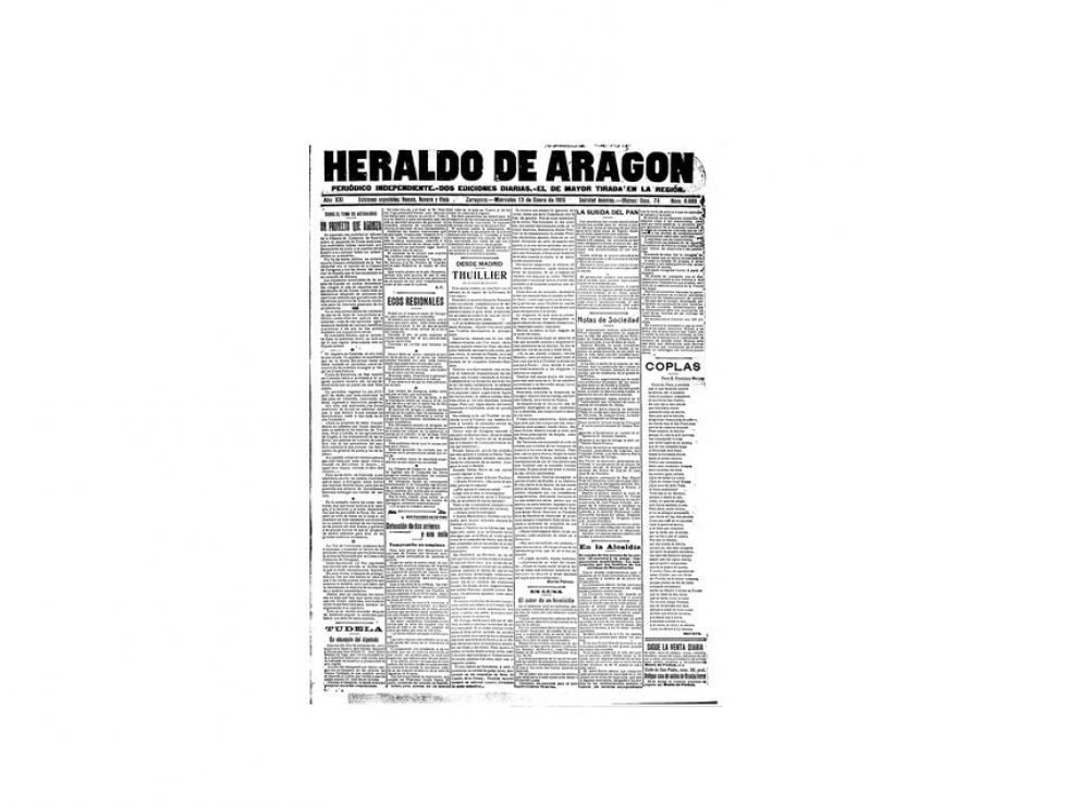 Portada de HERALDO el día 13 de enero de 1915