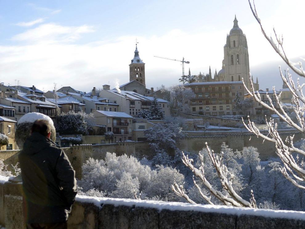 Vista de la ciudad de Segovia después de una nevada en el anterior temporal de nieve