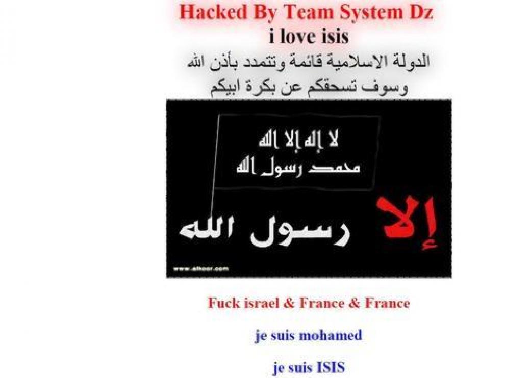 Una web hackeada con mensajes 'yihadistas'.