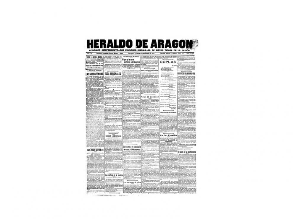 Portada de HERALDO el día 21 de enero de 1915