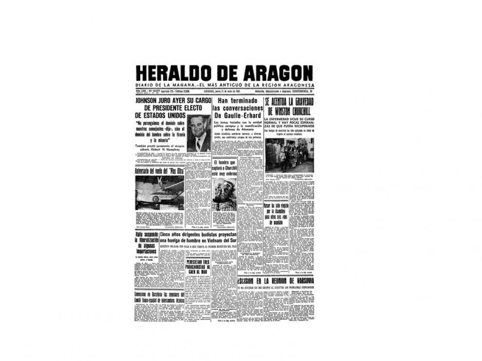 Portada de HERALDO el día 21 de enero de 1965