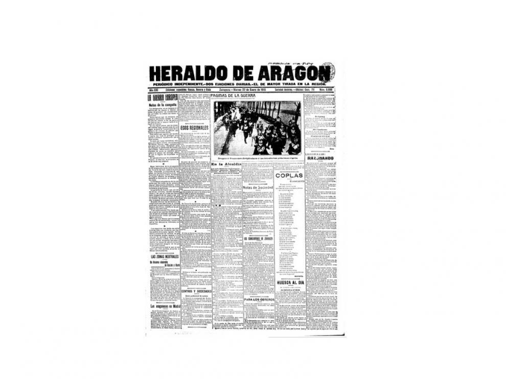 Portada de HERALDO el día 22 de enero de 1915