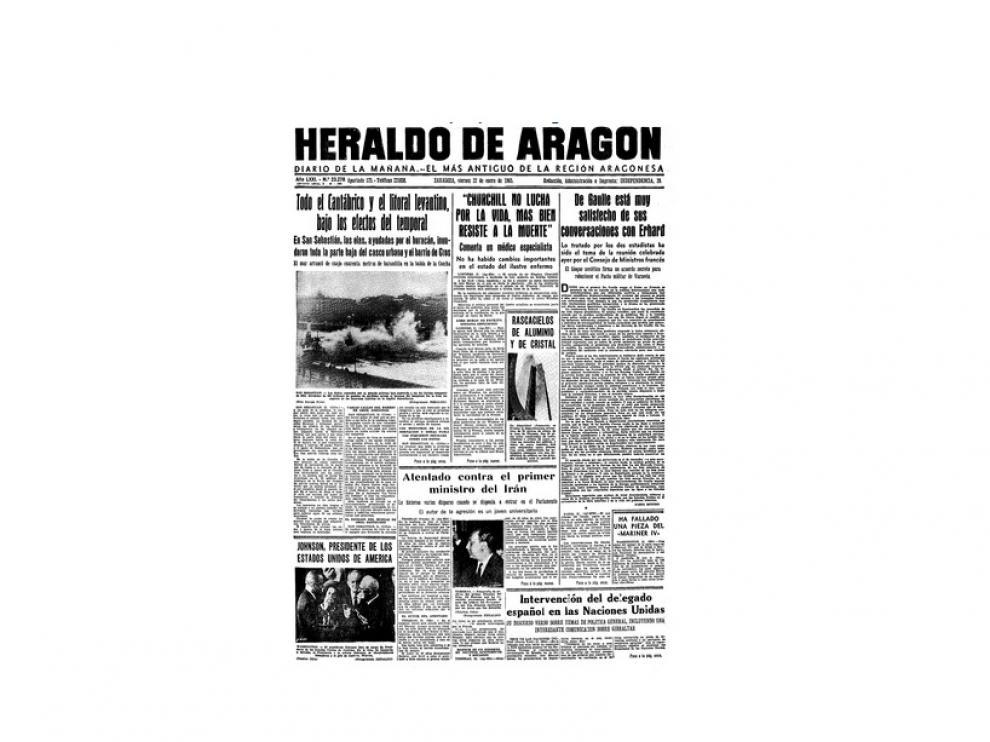 Portada de HERALDO el día 22 de enero de 1965