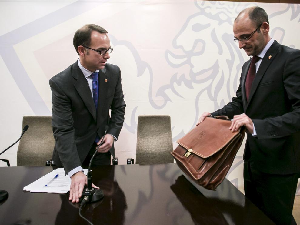 Christian Lapetra y Fernando Rodrigo, en la sede del Real Zaragoza