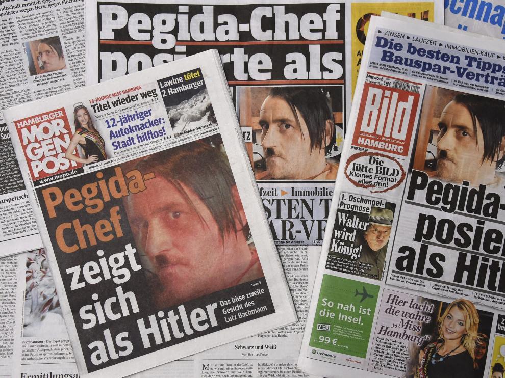 Diarios alemanes publicaron la foto de Lutz Bachmann imitando a Hitler