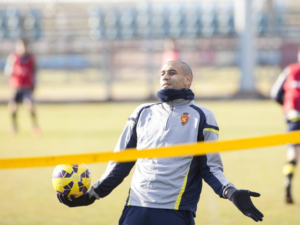 Diogo, en uno de sus últimos entrenamientos con el Real Zaragoza