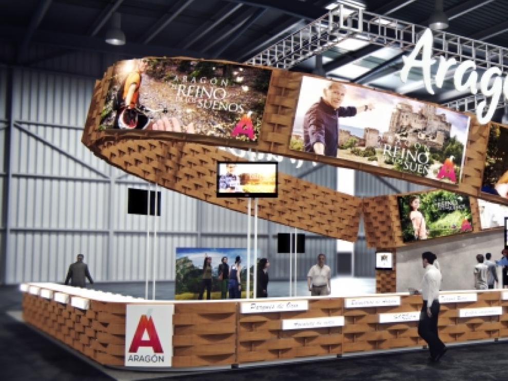 Este será el stand de Aragón en Fitur y en otras ferias de turismo