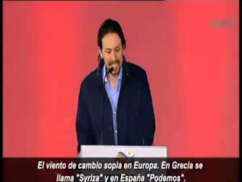 Pablo Iglesias se atreve con el griego en Atenas