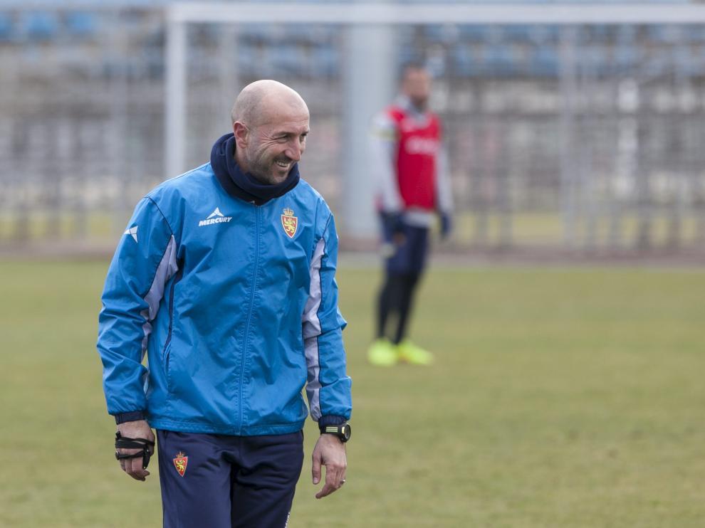 Popovic, durante un entrenamiento del Real Zaragoza