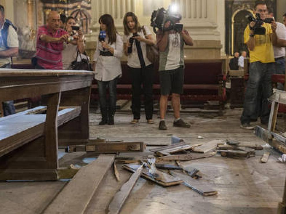 Daños provocados por el artefacto anarquista en El Pilar