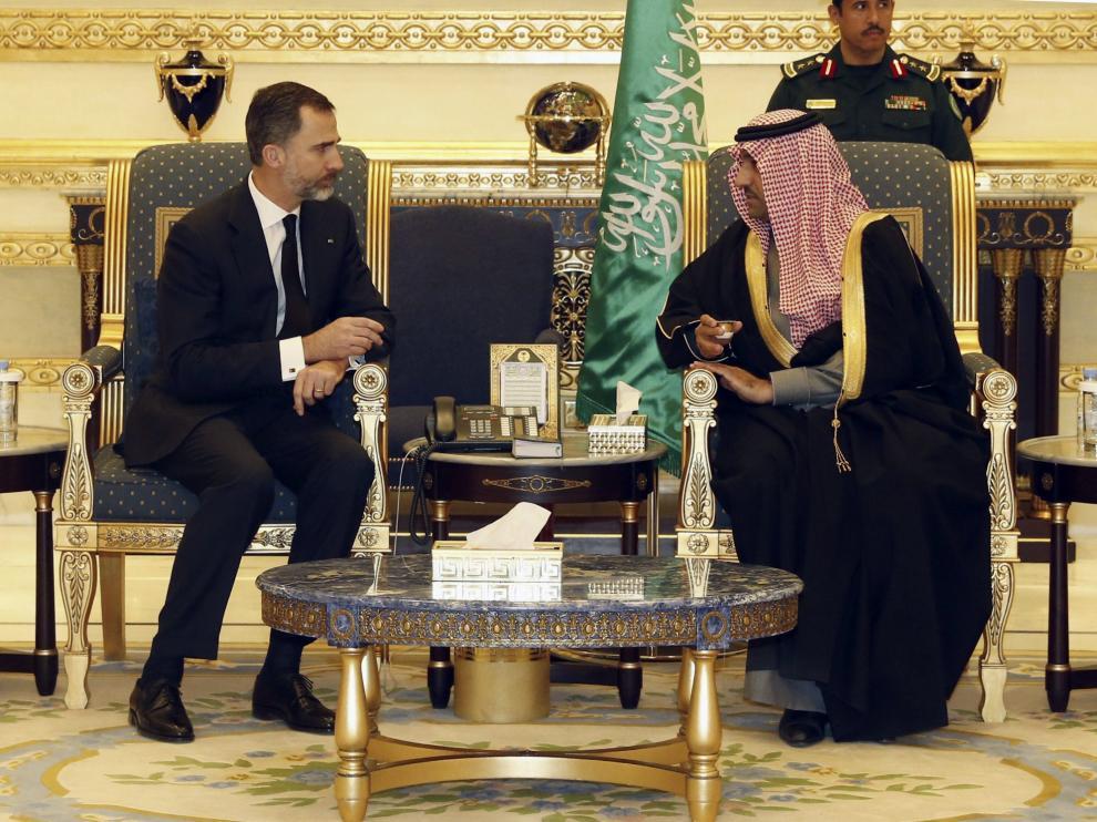 Reunión del rey Felipe VI con el monarca saudí