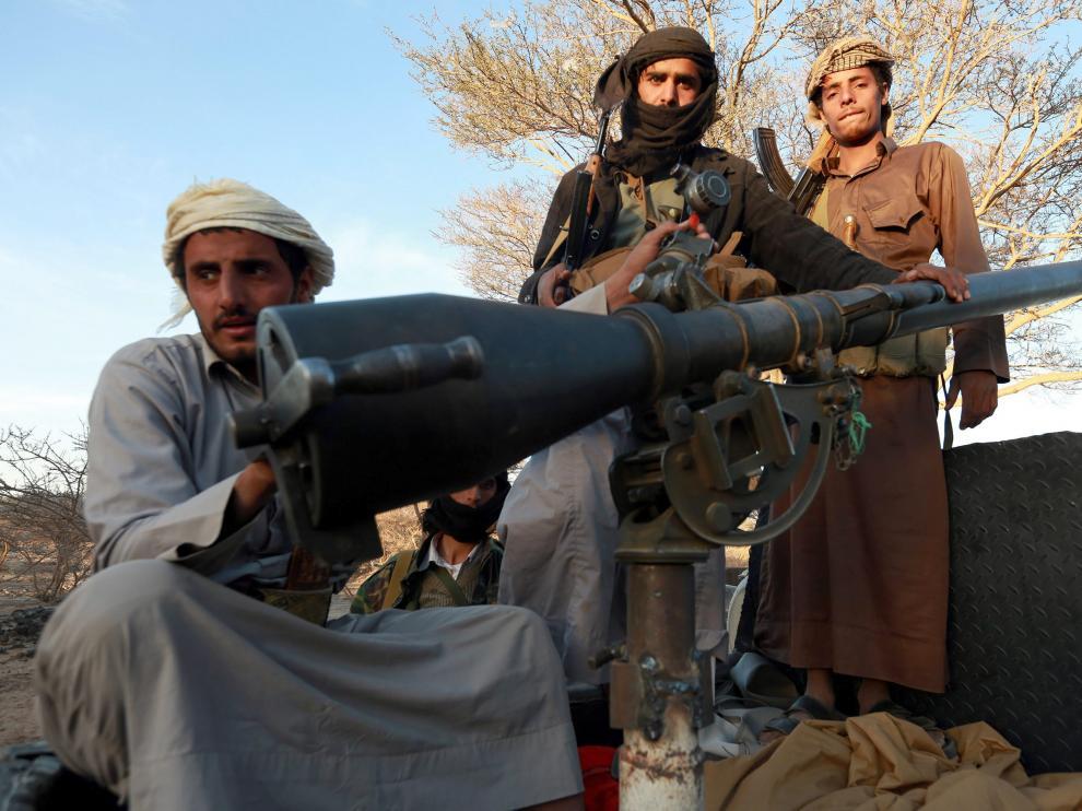 Miembros de los rebeldes hutíes