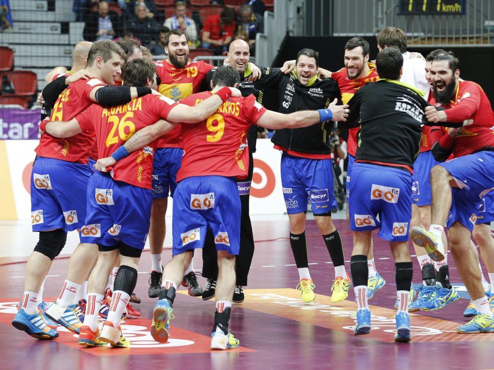 Los jugadores de la selección española de balonmano