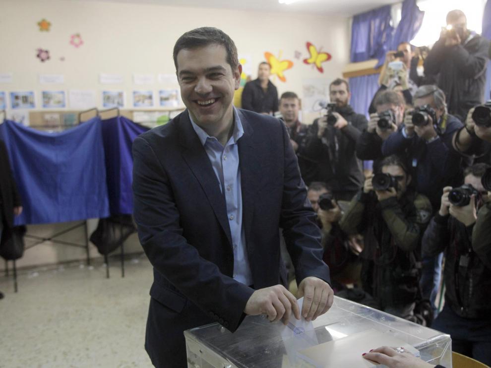 ?Alexis Tsipras, votando en un colegio electoral de Atenas