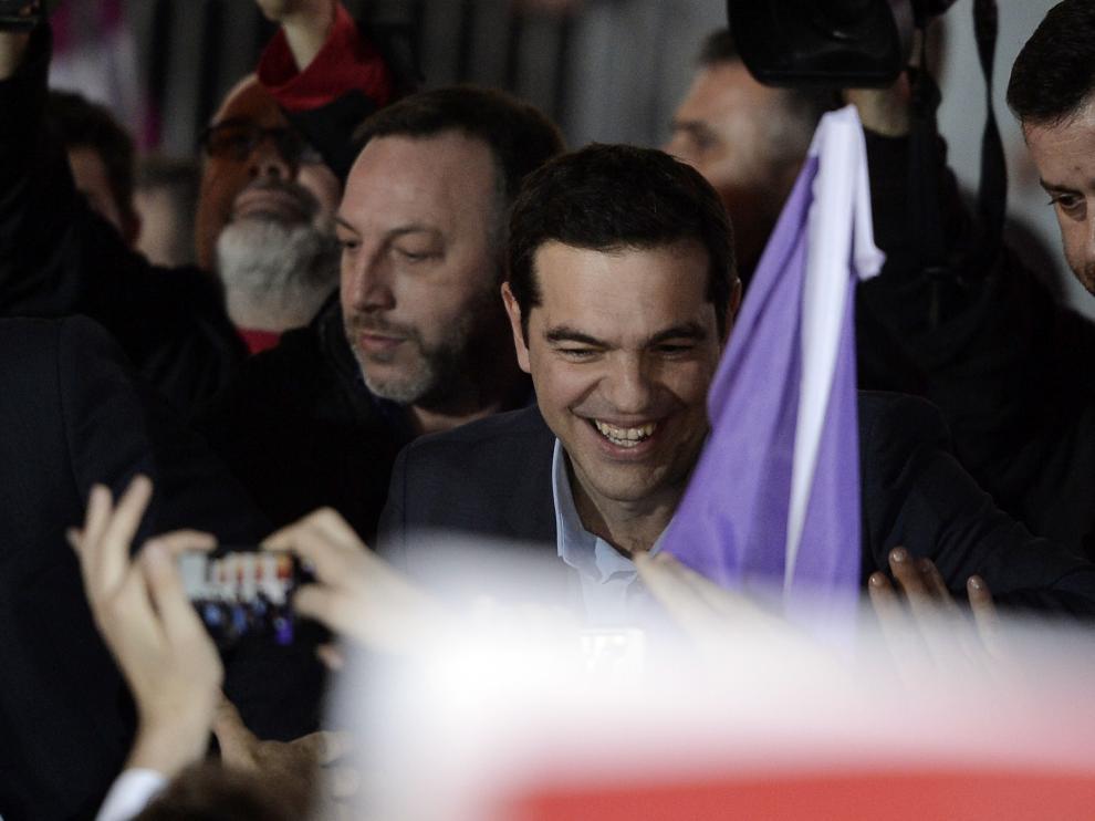El líder de Syriza, Tsipras, tras conocer su victoria en las elecciones