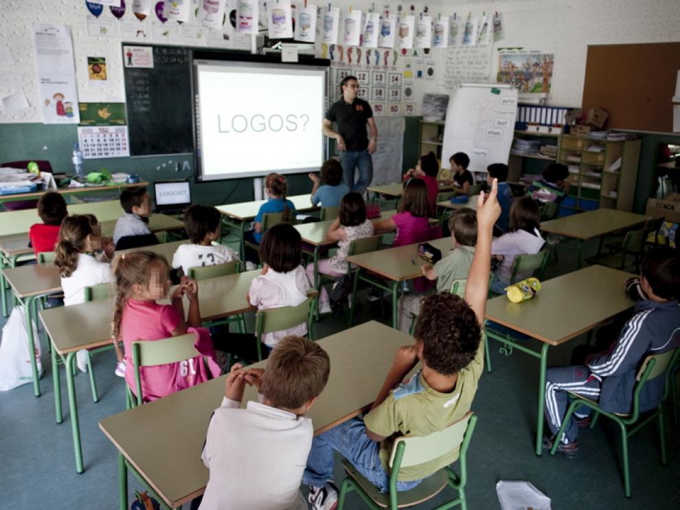 Imagen de archivo de un aula de un centro aragonés