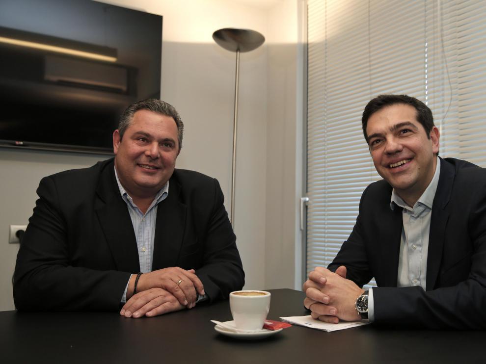 Tsipras junto al líder de Griegos Independientes