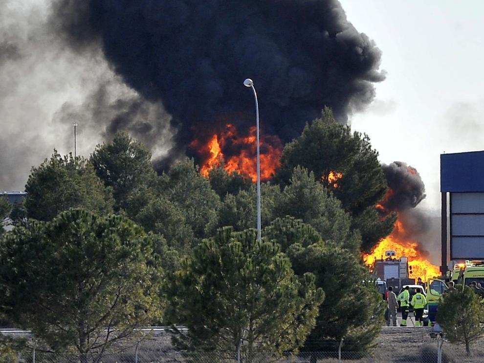 Imagen del accidente en la base de Los Llanos