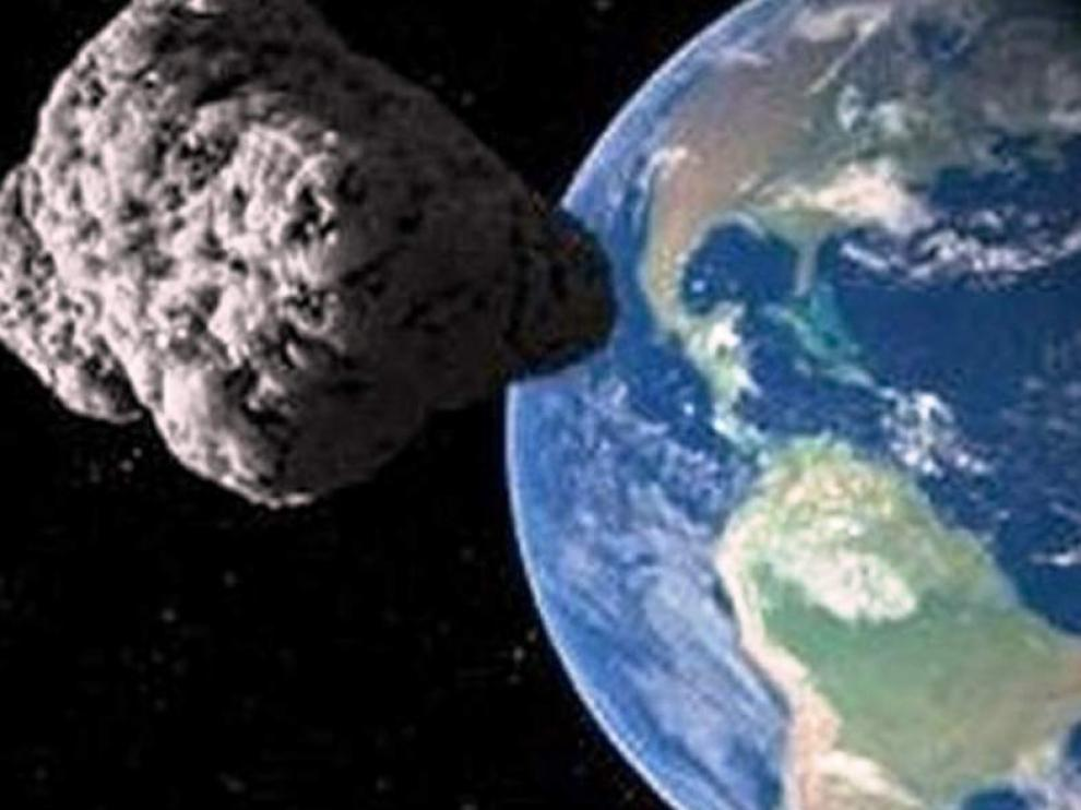 Imagen de archivo de un asteroide acercándose a la tierra.