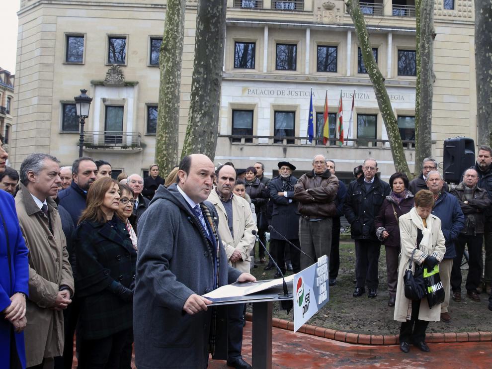 El presidente del PNV, Andoni Ortuzar, durante su intervención en el Euzkadi Buru Batzar