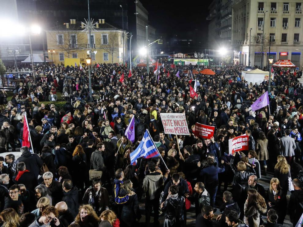 Los simpatizantes de Syriza celebran los resultados