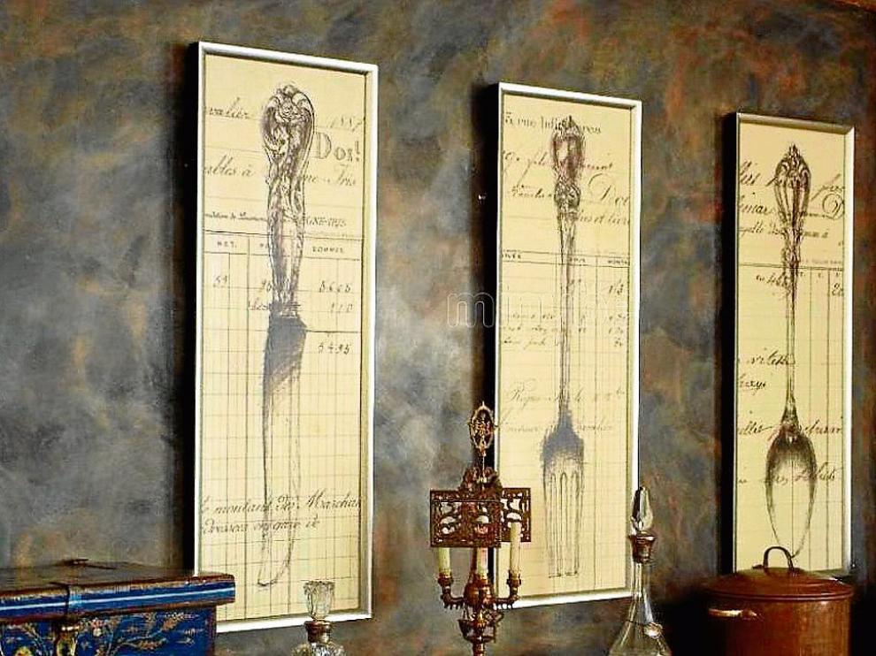 Decoración del comedor del hotel La Abadía, de Castillazuelo