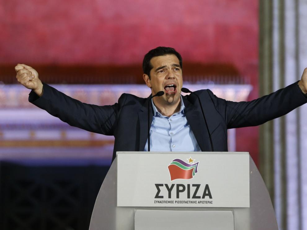 Alexis Tsipras celebra su triunfo en las elecciones griegas