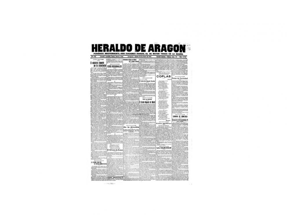 Portada de HERALDO el día 28 de enero de 1915