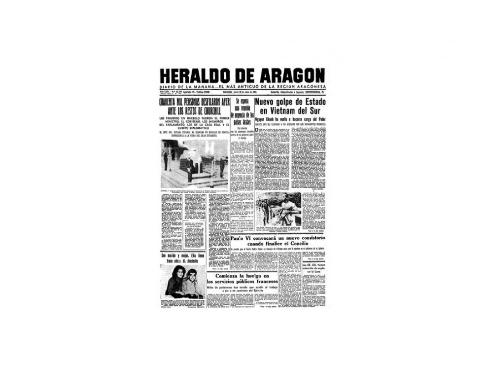 Portada de HERALDO el día 28 de enero de 1965