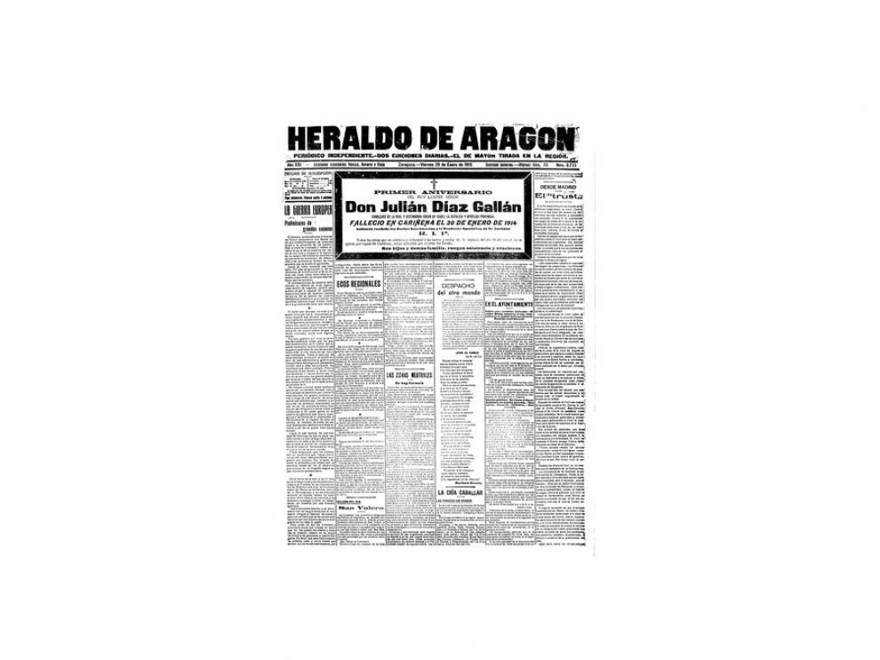 Portada de HERALDO el día 29 de enero de 1915