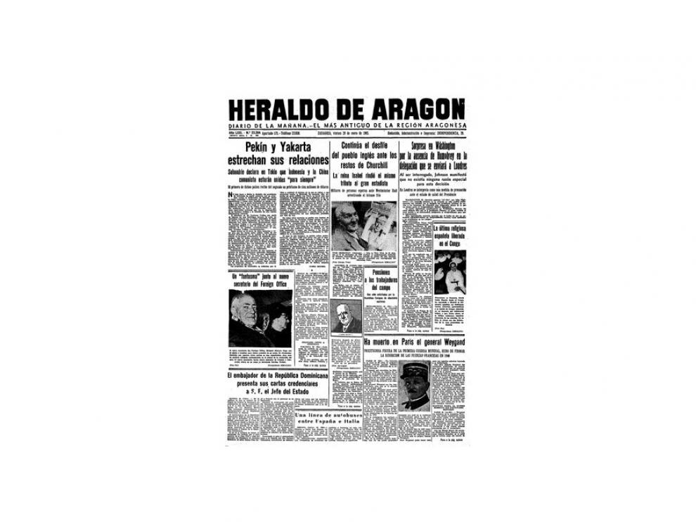 Portada de HERALDO el día 29 de enero de 1965