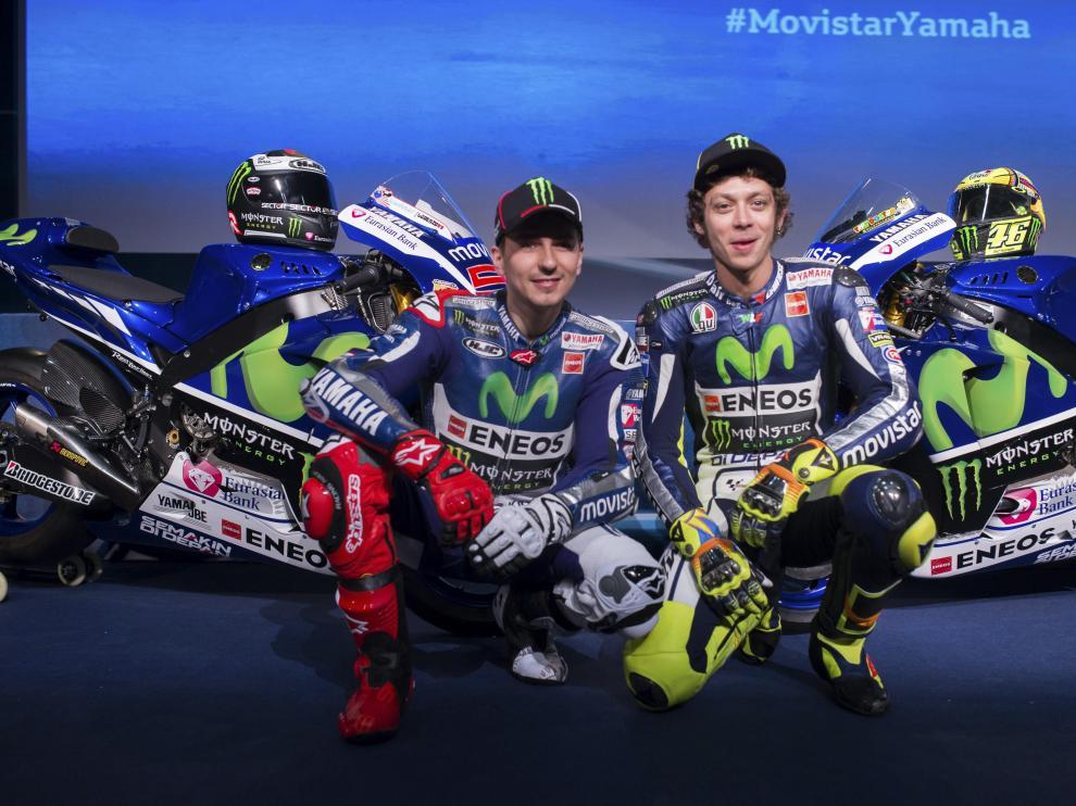 Lorenzo y Rossi, en la presentación de Yamaha