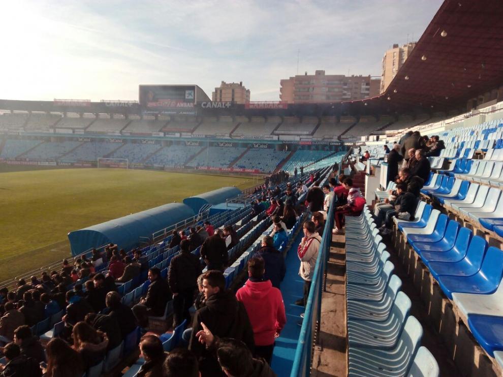 Entrentamiento en la Romareda este jueves del Real Zaragoza