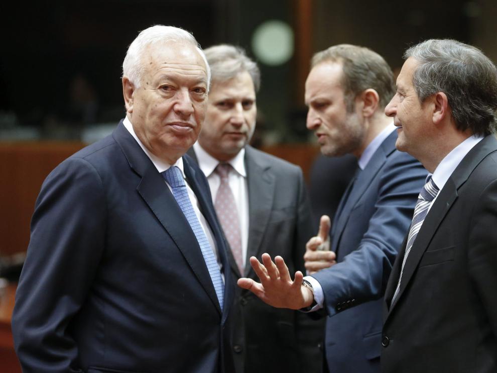 José Manuel García-Margallo conversa con el ministro danés de Exteriores Martin Lidegaard