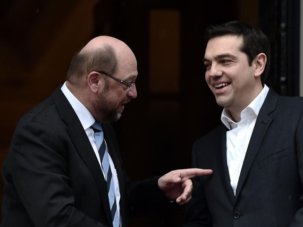 ?Tsipras con el presidente del Parlamento Europeo, Martin Schulz