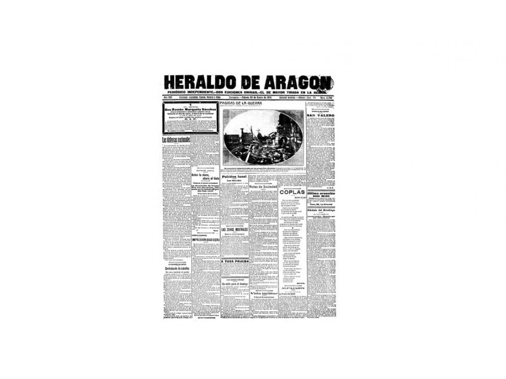 Portada de HERALDO el día 30 de enero de 1915
