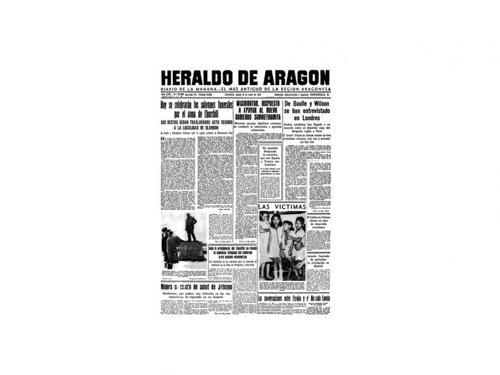 Portada de HERALDO el día 30 de enero de 1965