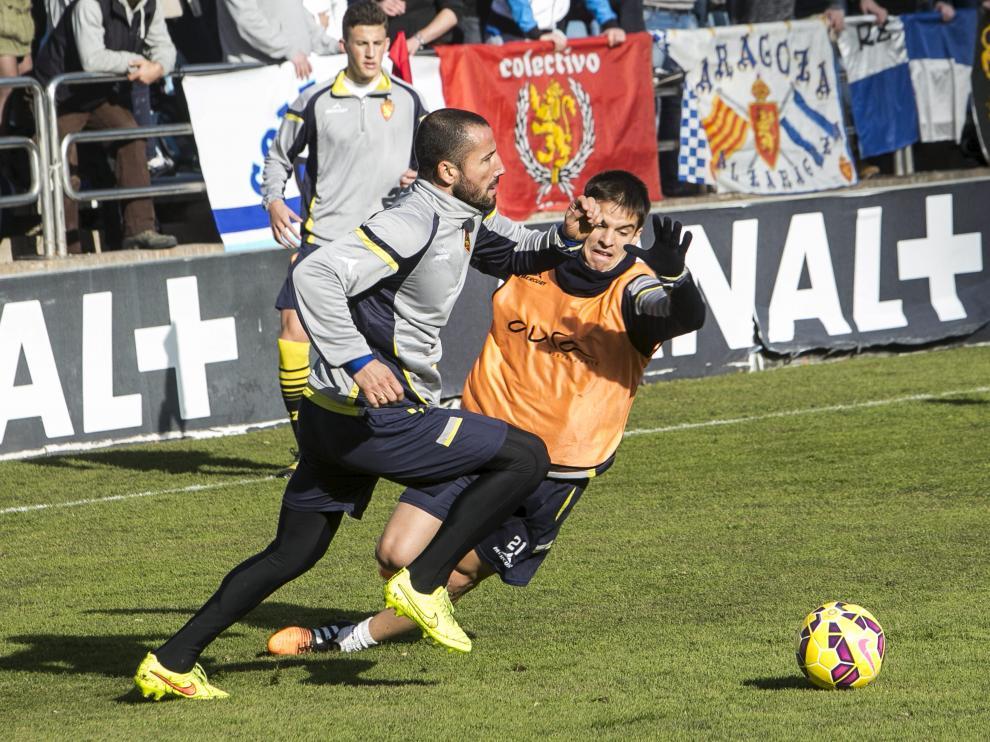 Mario, durante el entrenamiento de este jueves del Real Zaragoza