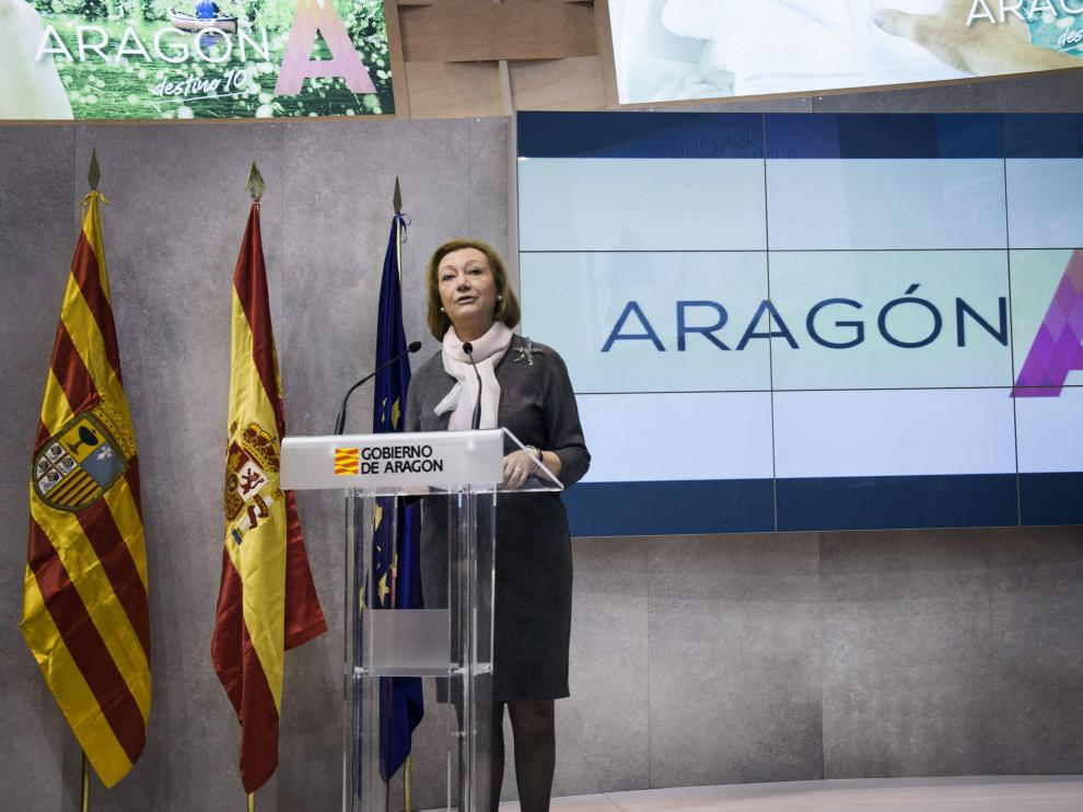 La presidenta Rudi promocionando Aragón en Fitur